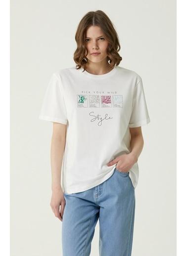 NetWork 1079952 Kadın Basic Fit Baskılı T-shirt Ekru